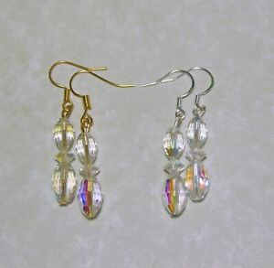 Handmade Oval Cut Aurora Borealis Drop Earrings