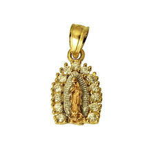 14K 3 Color Yellow White Rose Gold Lady Virgen Guadalupe CZ Small Charm Pendant