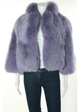 HALSTON Lavender Fox Fur Bomber Length Fur Coat Sz 6 RR6