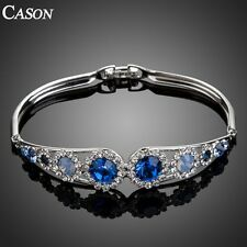 Women 18k White Gold Plated Blue Austrian Crystal Charm Bangle Bracelet Jewelry