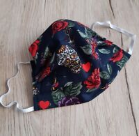 Adult standard Face mask Handmade skulls and roses Face Mask ready to ship
