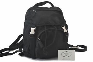 Authentic PRADA Nylon Backpack Black C3589