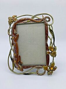Beautiful Rhinestones Lizard and Flowers Jeweled and Enamel Picture Photo Frame