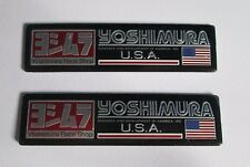 2x Yoshimura Aluminum USA Plate Decal Exhaust System Sticker Black/Silver
