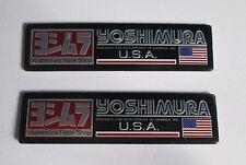2x Yoshimura Aluminum USA Plate Decal Exhaust System Sticker Black/Silver