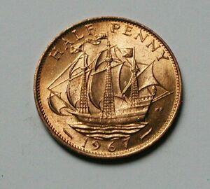 1967 UK (British) Elizabeth II Coin - Half Penny (1/2d) - AU+ toned-lustre