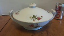 "Thames China Moss Rose Round Covered Vegetable Bowl 9"" Japan Roses w/ Gold trim"