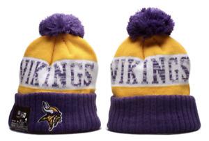 Minnesota Vikings NFL Football Beanie Warm Pom Knit Cap Hat Fleece lined