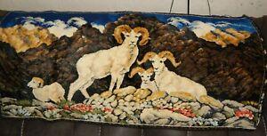 """Vintage Mountain Goat Nature Scene Velvet Tapestry Wall Hanging, 38"""" x 19"""""""
