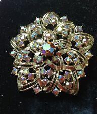 Vintage Coro Aurora Rhinestone Starburst Floral Brooch