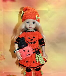 "Pumpkin outfit + shoes for Little Darling, Dianna Effner 13"" Halloween, 11 pcs"