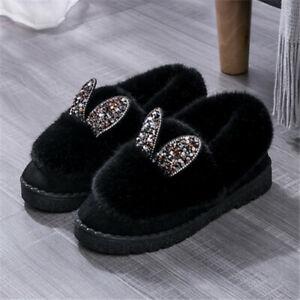 New Winter Women' Rabbit Ears Plush Winter Snow Warm Ankle Boots Flat Slippers