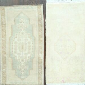 Pack of 2 Muted Geometric Anatolian Hand-Knotted Turkish Oriental Area Rug 2'x3'