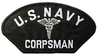 """UNITED STATES NAVY  USN CORPSMAN HAT PATCH      3"""" X 5-1/4"""""""