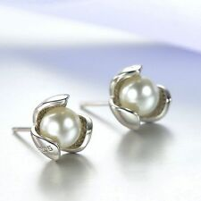 Fashion Imitation Women Accessories Pearl Earrings Ear Stud Silver Plated