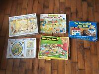 Vintage Retro Wooden Cardboard Jigsaw Puzzles Childrens x 5