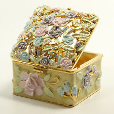 Bejeweled flower motif trinket box with, Faberge figurine with crystals in green
