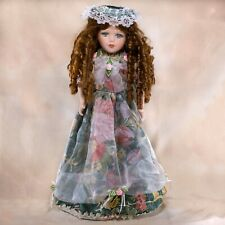 """Knightsbridge Collection Porcelain Girl Doll 18"""" Beautiful Blue Eyes Plus Stand"""