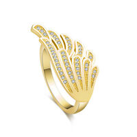 Gold Plated Fashion Women White Topaz Angel Wing Engagement Ring 7 9 Wholesale