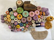 Vintage Tatting Crochet Thread Lot Spool Variegated Solid Doily w/ Sewing Basket