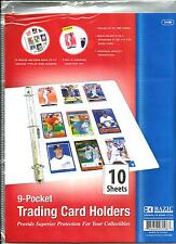 Bazic Products 9 Pocket Top Load Trading Card Holders - 10 Sheets Per Package
