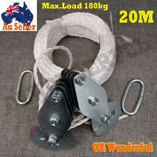 20M Cargo Lifting Rope Winch Hoist Pulley Puller Set Max.Load180kg Max.Height 3M