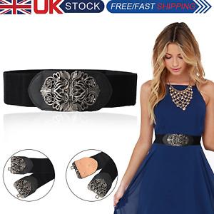 UK Women Ladies Wide Elastic Stretch Cinch Waistband High Waist Dress Belt New