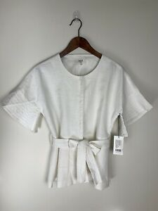 SEED HERITAGE Size 10 Cotton Linen White Peplum Blouse Top Tie Near New RRP $169
