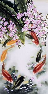 100% HANDPAINTED ASIAN FINE ART CHINESE WATERCOLOR PAINTING-Koi fishes carps