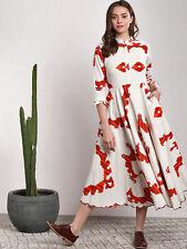 Frauen Weiß Ikat Design Bedruckt Baumwolle A-Linie Kleid Abstrakt Rundhals