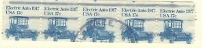 US EFO Scott #1906 17c Electric Auto Coil strip of 5 USED,  Mis-cut!