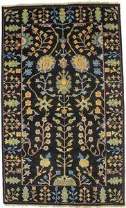 Floral Tree of Life Black Osh Chobi 3X5 Handmade Oriental Rug Home Decor Carpet