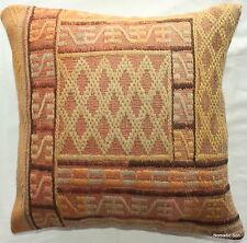 (50*50cm, 20 inches) Turkish handwoven kelim cover textured orange/yellow 2