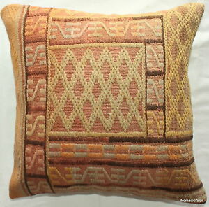 (50*50cm, 20 inches) Turkish handwoven kelim cover textured orange/yellow 2