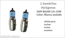 PAREJA DE BOMBILLAS HALOGENAS PARA MOTO H6 BA20D EN BLANCO EFECTO XENON.