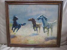 ANTIQUE VINTAGE AUGUST ALBO HORSES FRAMED LITHO PRINT ESTONIAN LISTED VTG OLD