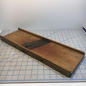 Vintage Used Old Wood Wooden Kitchen Restaurant Vegetable Mandoline Slicer Tool