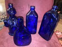 VINTAGE LOT OF 4 COBALT BLUE BOTTLES Medicinal Philips George Washington Liquor