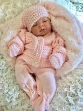 REBORN BABY GIRL DOLL PINK SPANISH KNITTED SET & DUMMY  M