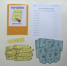 Teacher Made Math Center Learning Resource Game Variables Subtraction