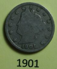 1901  US  Liberty Head ( V ) nickel in  circulated  condition    Free Shipping