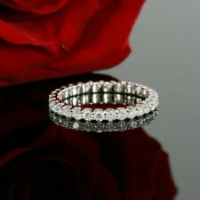 1.7Ct White Round Diamond Eternity Engagement Wedding Ring 14K White Gold Finish