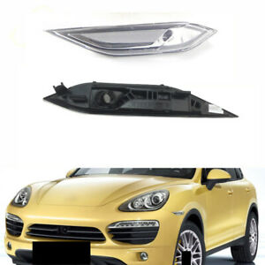 2x For Porsche Cayenne 2010-14 White Left+Right Turn Signal Light Cover No Bulbs