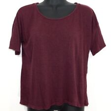 Brandy Melville Maroon Short Sleeve Open Back Top, One Size