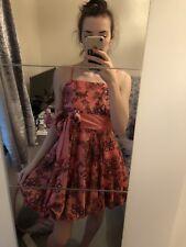 "Peach Satin Dress ""puffball"" Style Hem Prom Wedding Bridesmaid"