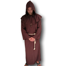 Adult Mens Deluxe Medieval Monk Robe Priest Robe Halloween Cosplay Costume Cloak