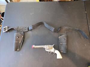 VINTAGE MATTEL FANNER LONE RANGER DOUBLE GUN HOLSTER BELT With One Pistol
