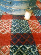 Antique Primitive 19thc Loomed Homespun Coverlet Pc. ~Americana Red Indigo Blue