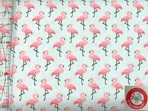 Baumwolle - Flamingos - hellgrau / pink - Stoffperle