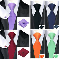 Mens Tie Hanky Cufflinks Set solid Colour Tuxedo Formal Dress Ties Pocket Square